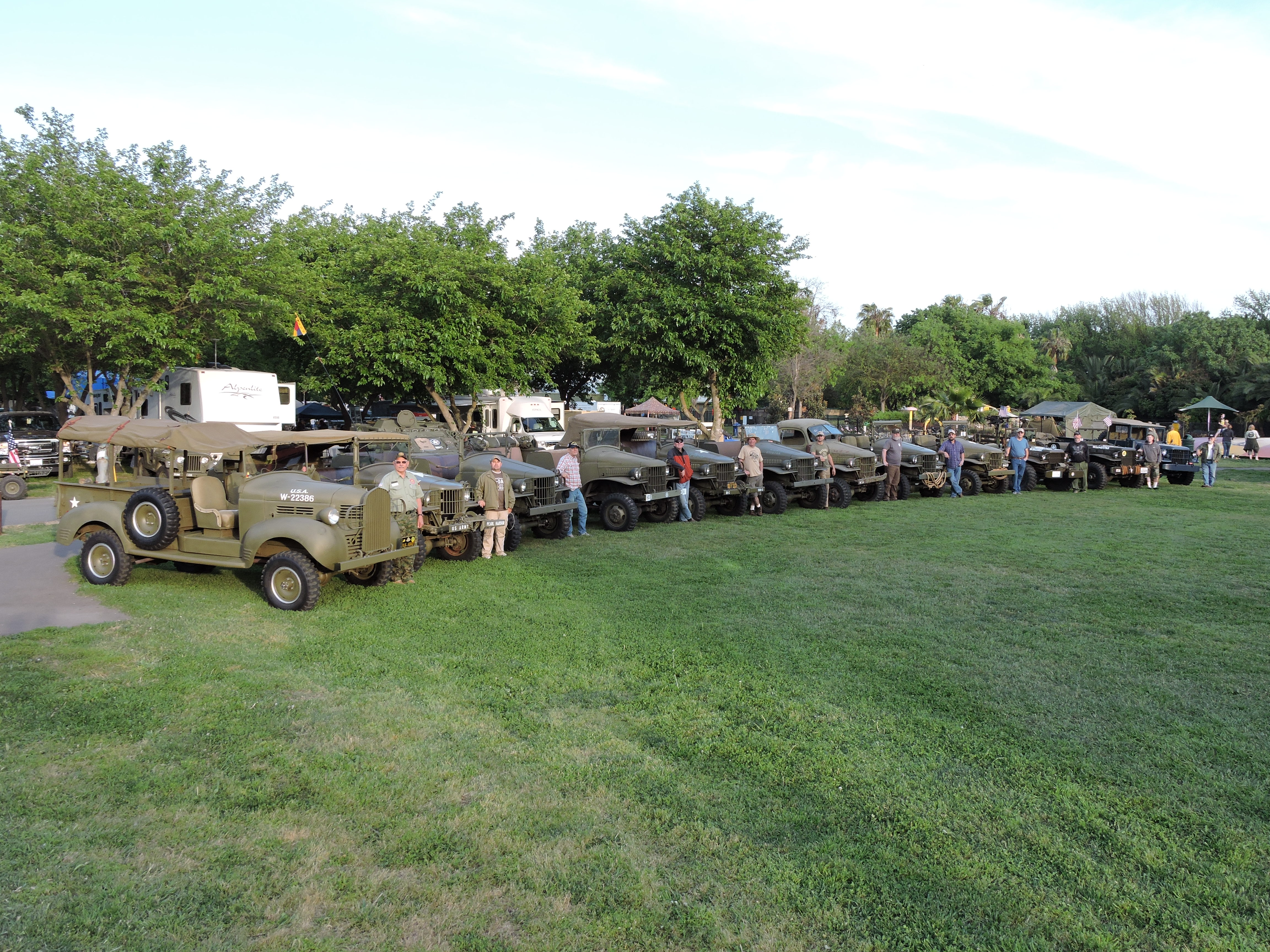 Camp Delta Military Swap Meet and Vehicle Gathering at Tower Park Resort near Lodi, California.